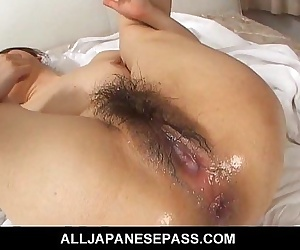 Asian cougar bends over for a hard dicking
