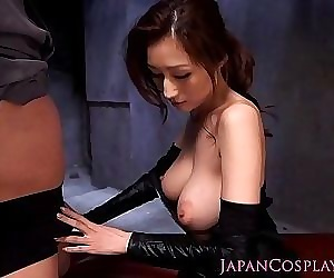 Cosplay ninjutsu lady gets cum on tits - 8 min HD