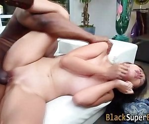 Tiny asian takes big dick -..