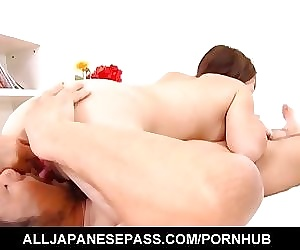 Fuwari is aroused with vibrators and sucks tool before frigging