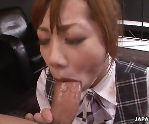 Slutty Japanese Secretary Enjoys a Rough Threesome in the Office