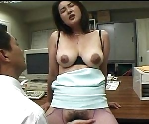 Horny Asian office hoe..